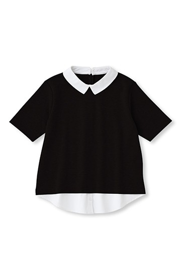 SHE THROUGH SEA #シャツドッキング衿付きトップス <ブラック>の商品写真