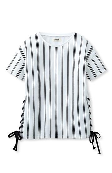 nusy サイド編み上げストライプトップス <ホワイト×ブラック>の商品写真
