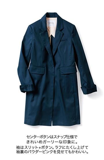 エムトロワ パイピングがポイントのきれいめチェスターコート <ネイビー>の商品写真