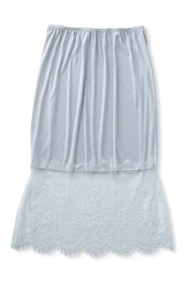 エムトロワ レース付き ニュアンスカラーのインナースカート <ライトグレー>の商品写真