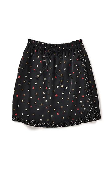 エムトロワ 巻きスカートみたいなプリント二種遣いスカート <ブラック>の商品写真