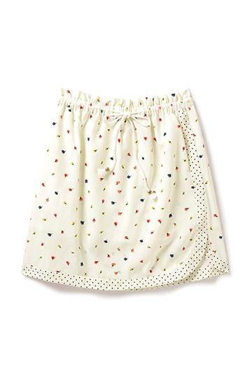 エムトロワ 巻きスカートみたいなプリント二種遣いスカート <オフホワイト>の商品写真