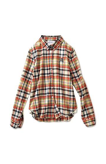 haco! haco.FACTORY 仕立て屋子猫刺しゅうのボーイズライクカラーチェックシャツ <オレンジ>の商品写真