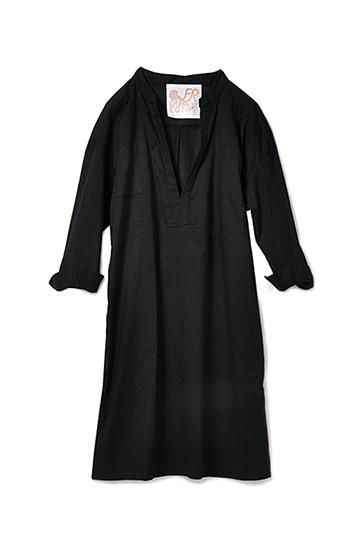 haco! PEACE BY PEACE コットンプロジェクト オーガニックコットンガーゼから作ったシャツドレス <ブラック>の商品写真