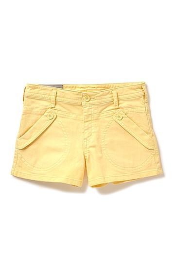 nusy 洗いをかけたカラーショートパンツ <ライムイエロー>の商品写真
