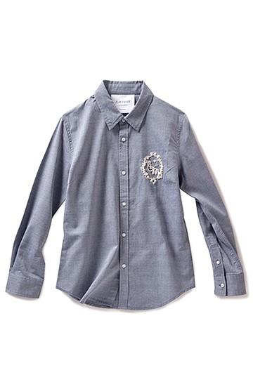 エムトロワ エンブロイダリーパールエンブレムのベーシックシャツ <グレー>の商品写真