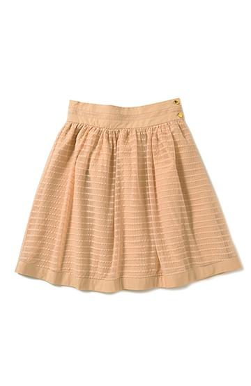 エムトロワ チェックチュールとグログランのとっておきギャザースカート <ピンクベージュ>の商品写真