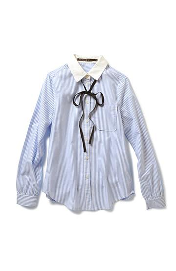 リス クロース リボン付きクレリックシャツ <ライトブルー>の商品写真