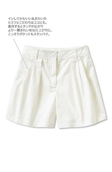 nusy インしてかわいい タックショートパンツ <ホワイト>の商品写真