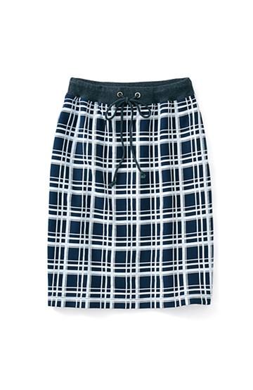 ロジーズ プリントチェックのスウェットスカート <ネイビー>の商品写真