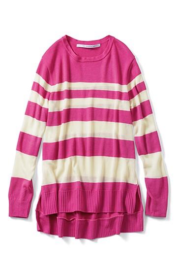 SHE THROUGH SEA #甘え色ボーダーロングニット <ピンク>の商品写真