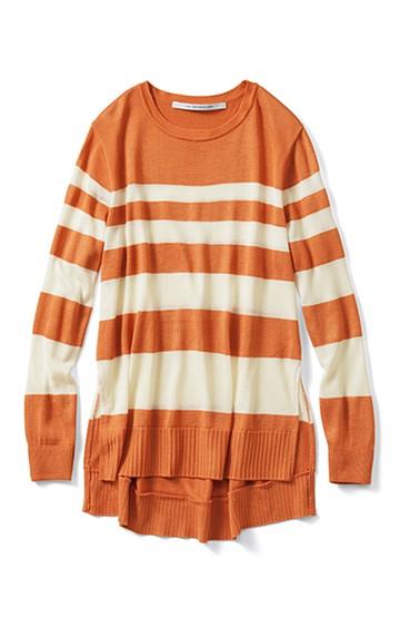 SHE THROUGH SEA #甘え色ボーダーロングニット <オレンジ>の商品写真