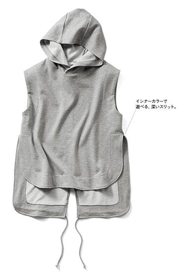 SHE THROUGH SEA #ゼッケンデザインのノースリミニ裏毛トップス <グレー>の商品写真