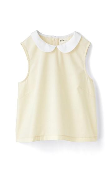 pilvee 短め丈の丸衿ノースリーブトップス <クリーム>の商品写真