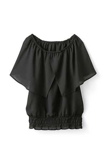 pilvee ケープ衿のやわらかギャザートップス <ブラック>の商品写真