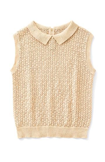 ロジーズ かぎ針編み風 ポロ衿ノースリーブニット <サーモンピンク>の商品写真