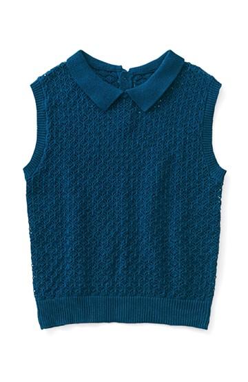 ロジーズ かぎ針編み風 ポロ衿ノースリーブニット <ネイビー>の商品写真