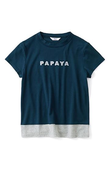 ロジーズ フルーツロゴ 配色デザインTシャツ <ネイビー>の商品写真