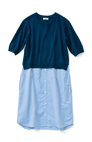 ロジーズ ニット×シャツワンピース <ネイビー>の商品写真
