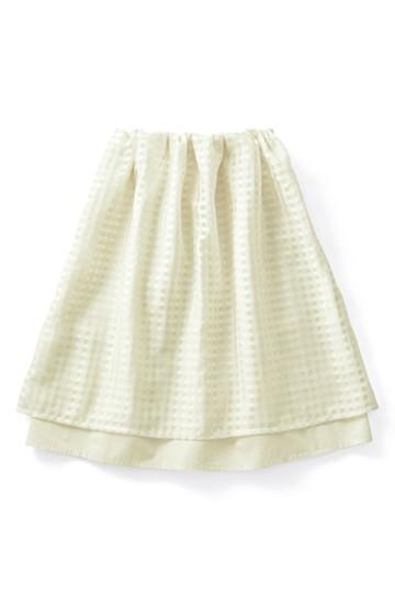 ロジーズ 2枚仕立てのギンガムチェックギャザースカート <アイボリー>の商品写真
