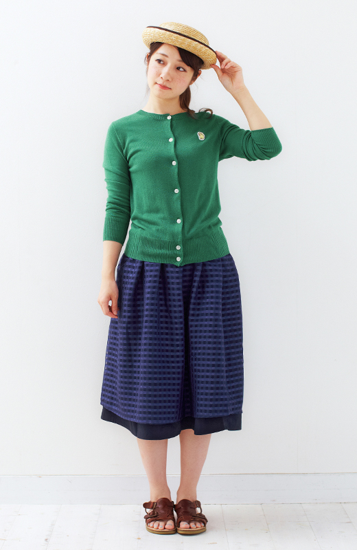 ロジーズ 2枚仕立てのギンガムチェックギャザースカート <ネイビー>の商品写真3
