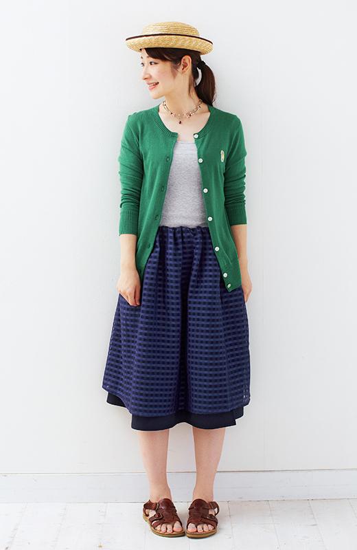 ロジーズ 2枚仕立てのギンガムチェックギャザースカート <ネイビー>の商品写真4