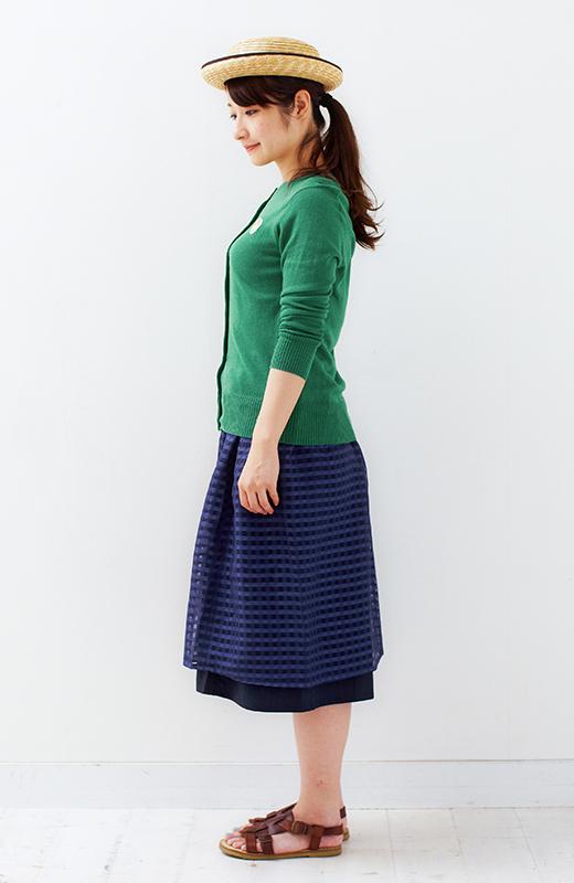 ロジーズ 2枚仕立てのギンガムチェックギャザースカート <ネイビー>の商品写真5
