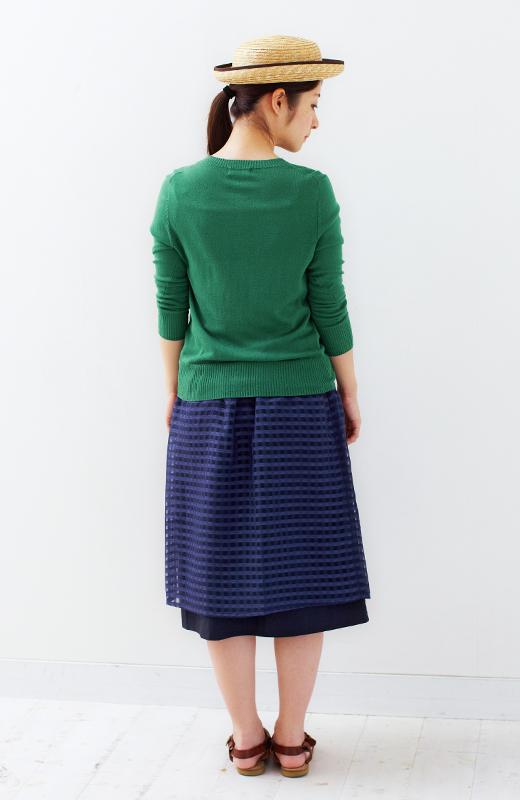 ロジーズ 2枚仕立てのギンガムチェックギャザースカート <ネイビー>の商品写真6