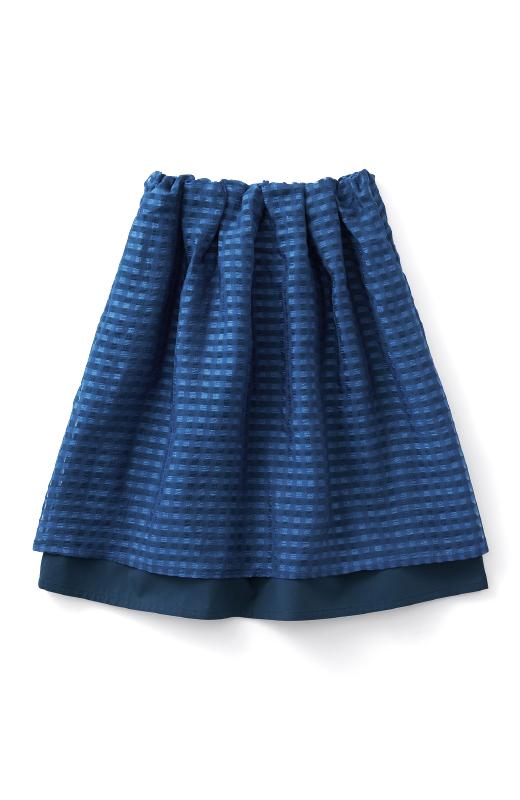 ロジーズ 2枚仕立てのギンガムチェックギャザースカート <ネイビー>の商品写真1