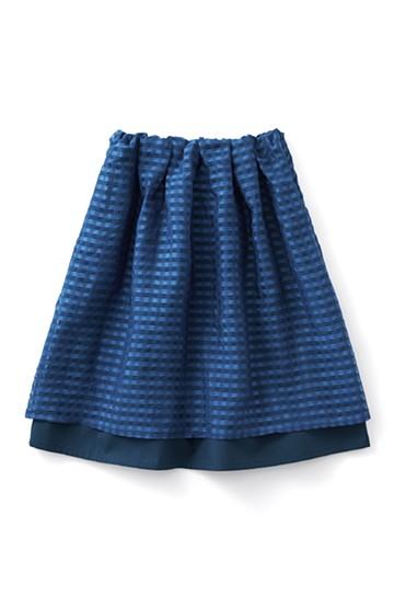 ロジーズ 2枚仕立てのギンガムチェックギャザースカート <ネイビー>の商品写真