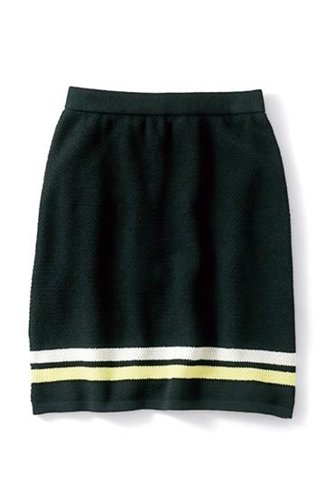 ロジーズ すっきりシルエットのライン入りニットスカート <ブラック>の商品写真