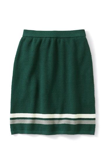 ロジーズ すっきりシルエットのライン入りニットスカート <ダークグリーン>の商品写真