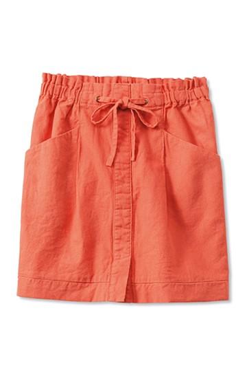 nusy 麻混素材のウエストリボンスカート <オレンジ>の商品写真