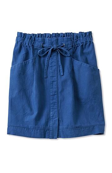 nusy 麻混素材のウエストリボンスカート <ブルー>の商品写真