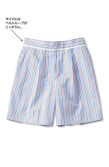 nusy ストライプタックショートパンツ <ホワイト×ブルー>の商品写真