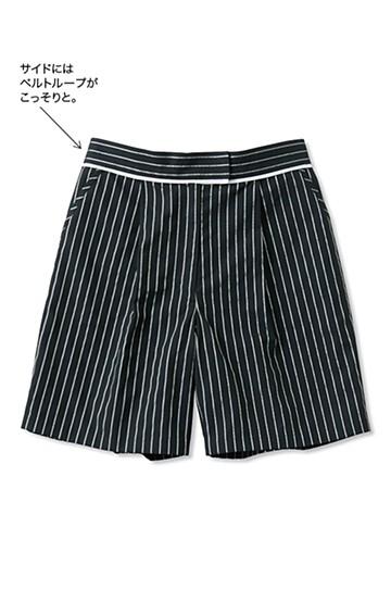 nusy ストライプタックショートパンツ <ホワイト×ブラック>の商品写真