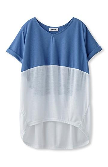 nusy まるシルエットの切り替えチュニックTシャツ <サックスブルー>の商品写真