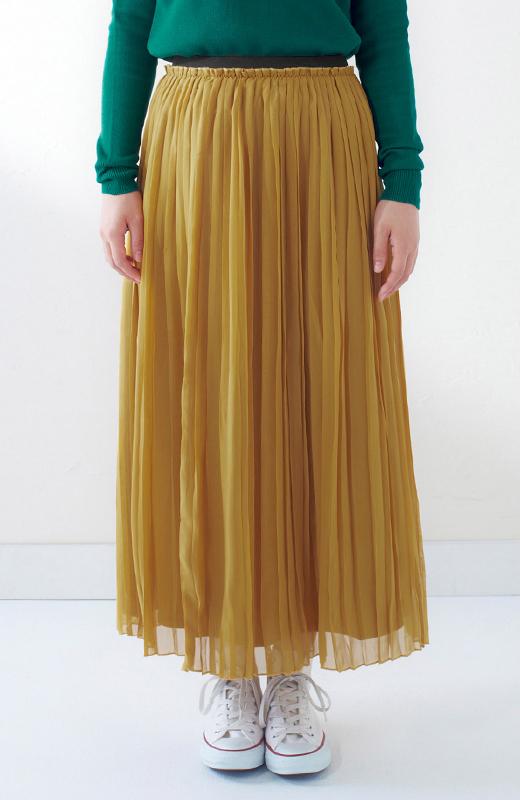 &sloe きれいな色のプリーツマキシスカート <イエロー>の商品写真3