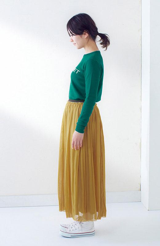 &sloe きれいな色のプリーツマキシスカート <イエロー>の商品写真5