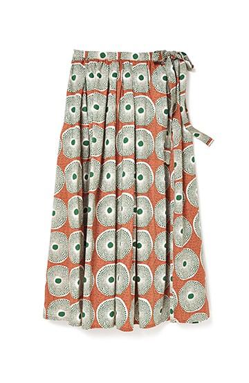 リス クロース アフリカン気分 バティック風柄のボリュームスカート <オレンジ>の商品写真