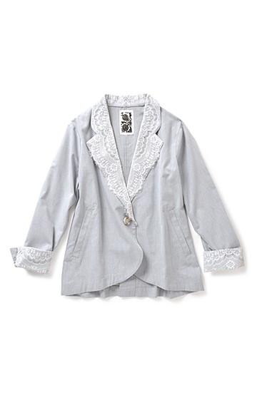 リス クロース アンティーク風レース衿のダンガリーワッシャージャケット <ライトグレー>の商品写真