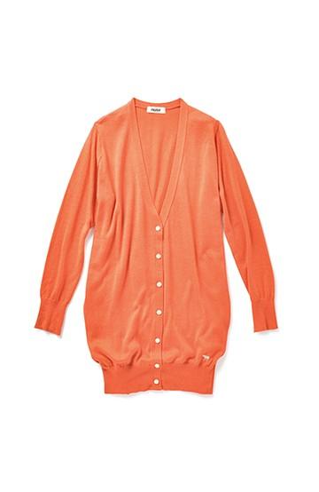 nusy 刺しゅうがかわいいシルク混の長め丈すっきりVカーディガン <オレンジ>の商品写真