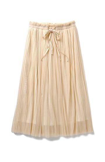 nusy ぜいたくプリーツのチュールマキシスカート <ピンクベージュ>の商品写真