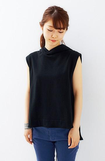 SHE THROUGH SEA #ゼッケンデザインのノースリミニ裏毛トップス <ブラック>の商品写真