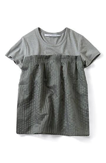 SHE THROUGH SEA #シースルーストライプドッキングTシャツ <グレー>の商品写真