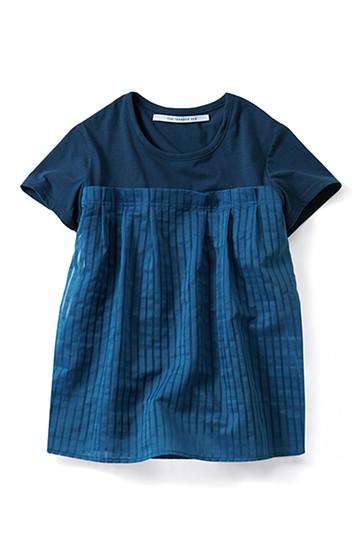 SHE THROUGH SEA #シースルーストライプドッキングTシャツ <ネイビー>の商品写真