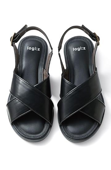 ロジーズ 太めベルトのぺたんこサンダル <ブラック>の商品写真