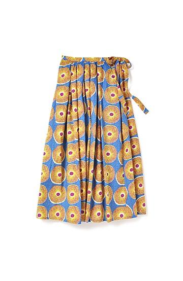 リス クロース アフリカン気分 バティック風柄のボリュームスカート <ブルー×イエロー>の商品写真