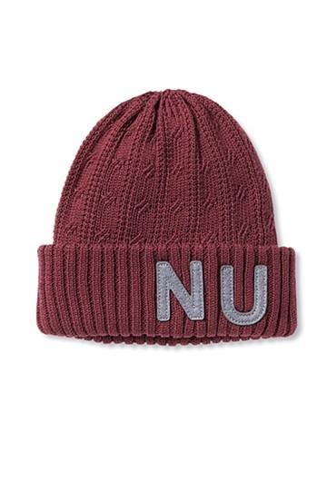 nusy ワッペン付きニット帽 <ボルドー>の商品写真