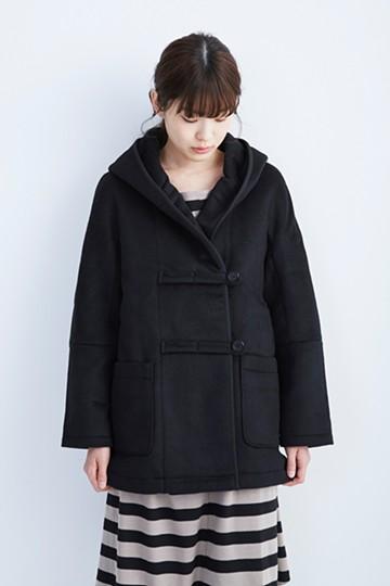 リス クロース ウール混のダブルフェイスフーデッドコート <ブラック>の商品写真